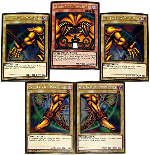 Yu-Gi-Oh Premium Gold: Return of the Bling Single Cards Gold Rare Set of all 5 Parts of Exodia the Forbidden One
