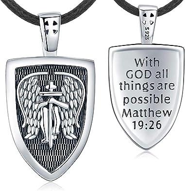 Aniu St Michael Necklace Sterling Silver for Men Women, Archangel Protect Angel Guardian Saint Michael Amulet Shield Protection Pendant Unique Jewelry Gift, Protect Us Good Luck Pendant