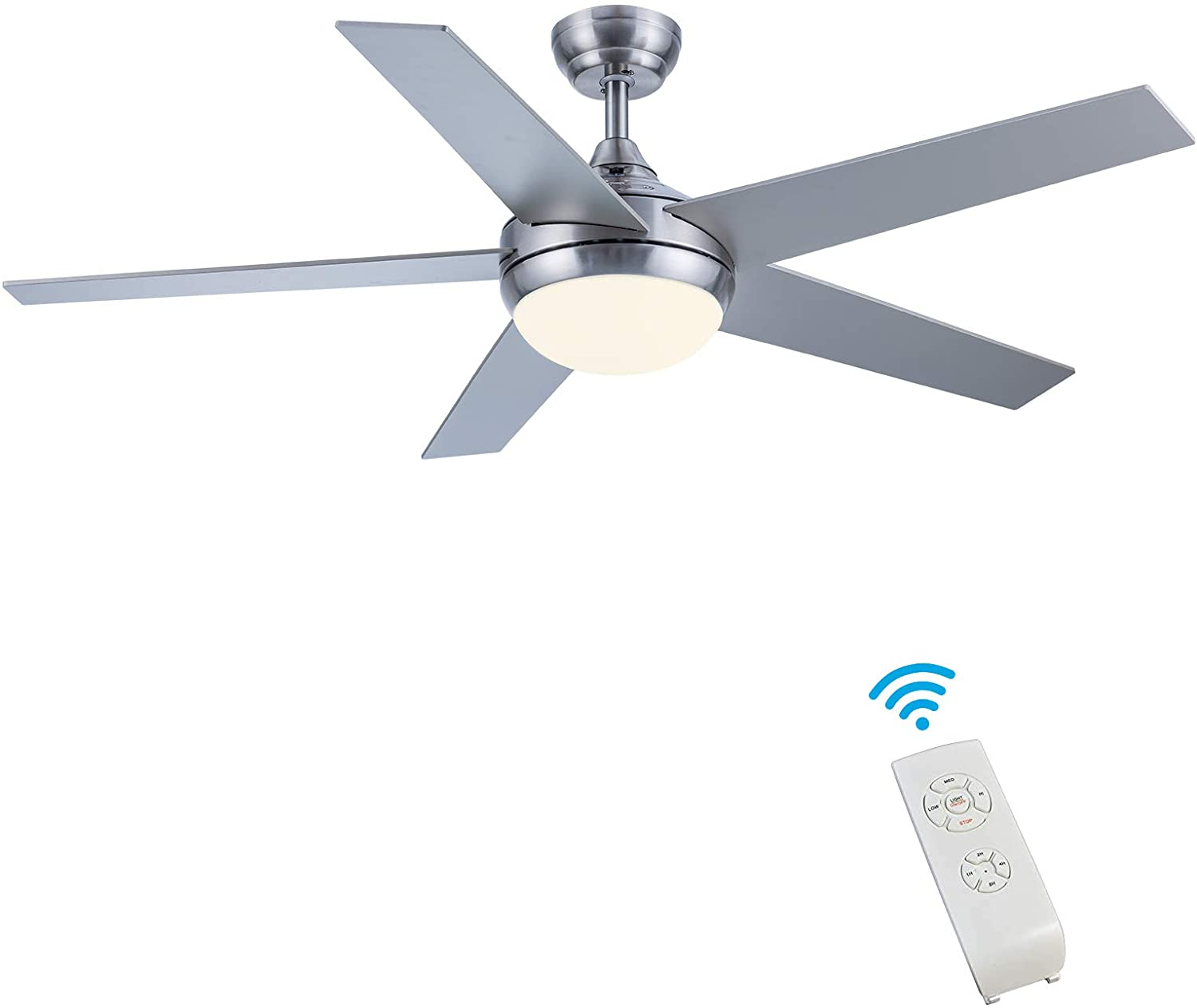 Ceiling Fan with Light, CJOY 52 Inch Modern Ceiling Fan with 5 Reversible Blades, 3000K, Remote Controls, Brushed Nickel, for Indoor