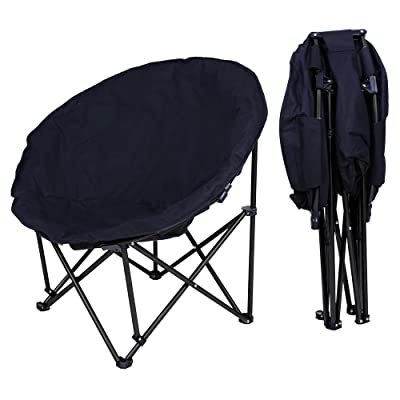 Yescom Portable Folding Moon Chair Saucer Padded Comfort Lounge Bedroom Garden Furniture Black Seat: Kitchen & Dining