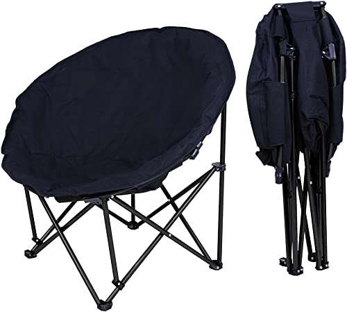 Comfy Portable Folding Saucer Chair for Bedroom Living Room Dorm Black and Gray REDCAMP Oversized Moon Chairs for Adults