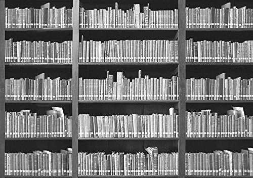 Bücherregal schwarz weiß  Bücherregal - schwarz-weiss - Foto-Tapete 4-teilig - Fototapete ...