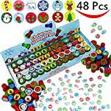 PeeNoke 48 Pieces Christmas Assorted Stamps Kids Self-Ink Stampers (12 Different Designs, Plastic Stamps) for Christmas Party Favors, Stocking Stuffers, Kids Crafts, School Prizes and Goodies Toy