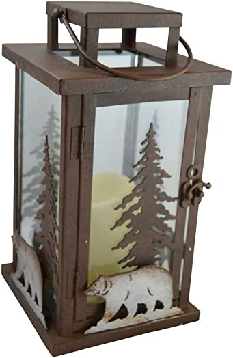 Pine Ridge Bear LED Candle Lantern Lights Decorative – Metal Square Holder Table top Hanging Lantern for Indoor Outdoor 3AAA Battery Operated Flameless Halloween and Christmas