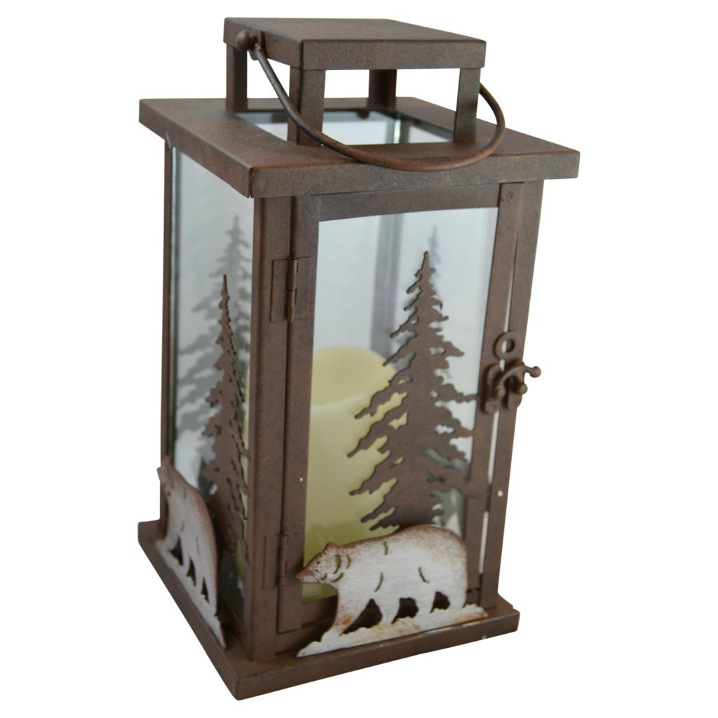 Bear LED Candle Lantern Lights Decorative - Metal Square Holder Table top & Hanging Lantern for Indoor Outdoor by Pine Ridge | 3AAA Battery Operated | Flameless | Halloween and Christmas by Pine Ridge