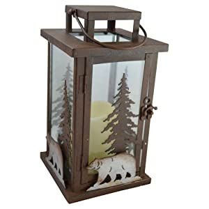 Bear LED Candle Lantern Lights Decorative - Metal Square Holder Table top & Hanging Lantern for Indoor Outdoor by Pine Ridge | 3AAA Battery Operated | Flameless | Halloween and Christmas
