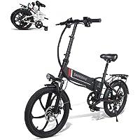 SAMEBIKE Bicicleta Eléctrica de 20 Pulgadas, Bicicleta Eléctrica Plegable para Adultos 350W 48V 10.4AH con Control…