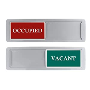 Privacy Sign, Premium Vacant Occupied Sign for Home Office Restroom Conference Hotles Hospital, Slider Door Indicator Tells Whether Room Vacant or Occupied, 7'' x 2'' - Silver