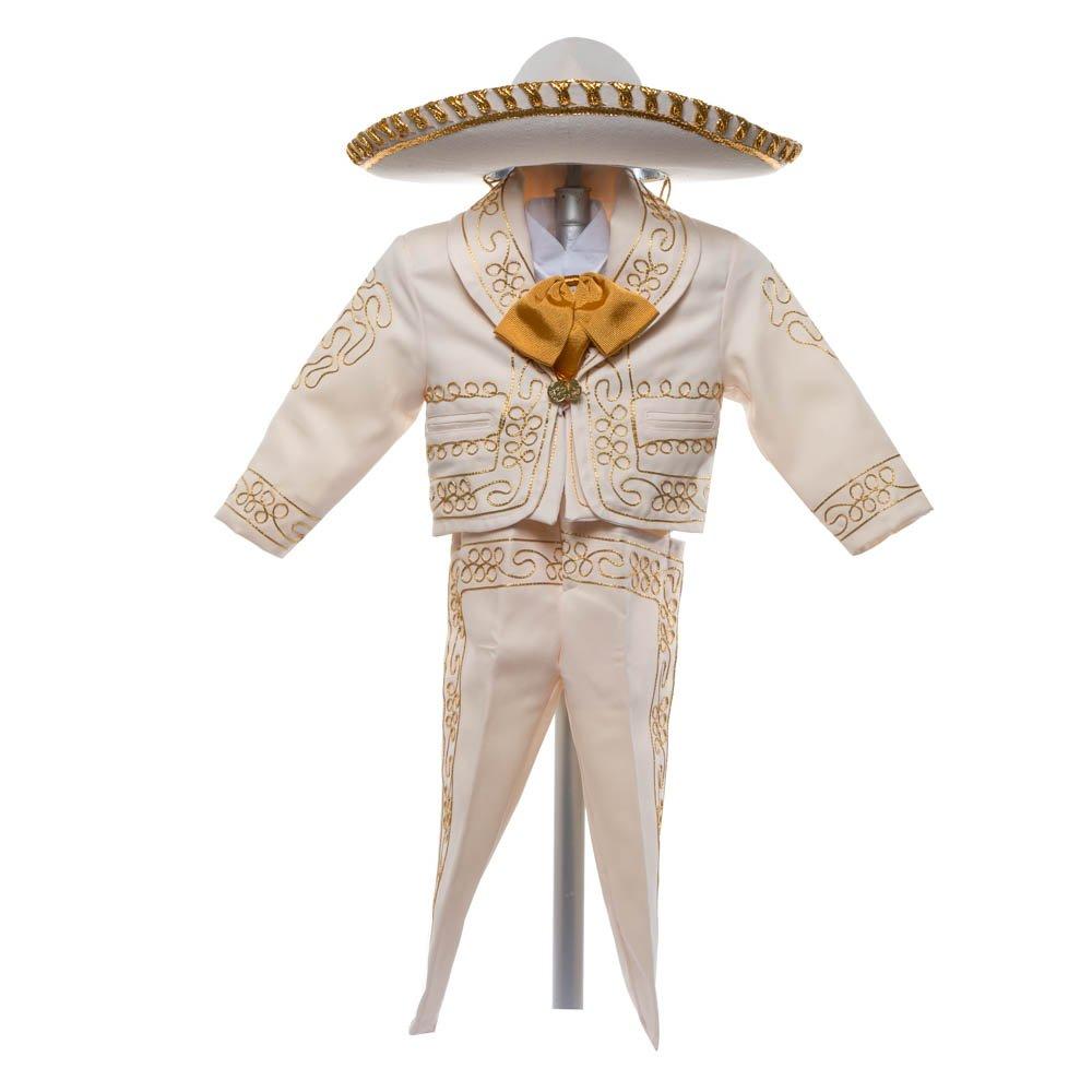 Boys Charro, Boys Cotton Guayabera, Boys Baptism, Charro, Boys, Mexican Wedding Shirt, Guayaberas, Baptism outfit, Mens Charro, Beige Charro (4 Year, Beige)