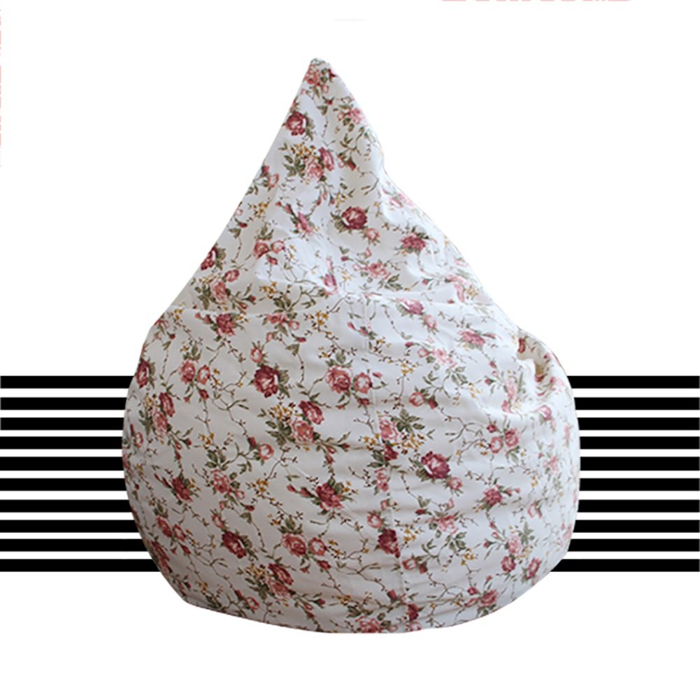 ZEMIN Sofá Perezoso Puf Puff Sillón Chair Bolsa De Frijoles Tumbona Individual Silla Reclinable Transatlántico Paño Flowers, 5 Colores, 3 Tamaños Disponibles