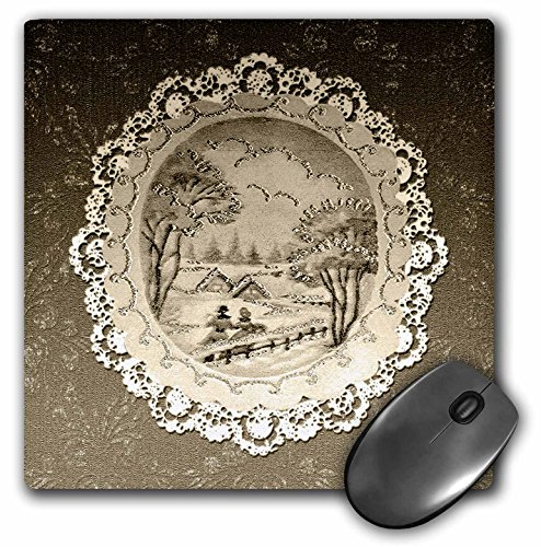 - 3dRose Beverly Turner Christmas Design - Couple in Snow Scene, Vintage Postcard Look with Lace, Sepia - MousePad (mp_195864_1)