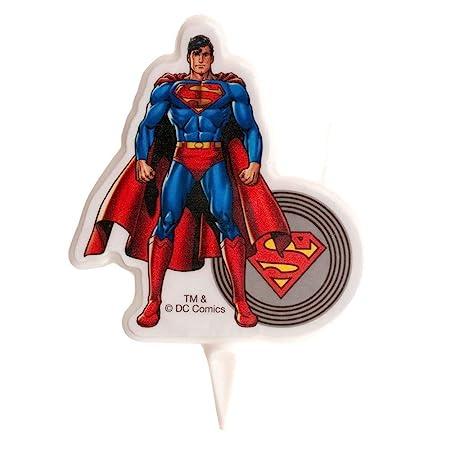 dekora 346134 Vela de Cumpleaños 2D Superman, Cera, 7.5 x 4 x 2 cm