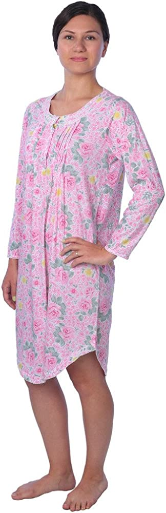 Women/'s Plus Size 55/% Cotton Floral Long Sleeve Nightgown,Length 39 inch,Blue 5X