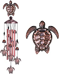 Sea Turtle Wind Chimes Outdoor Indoor Decor - With 4 Tubes 6 Bells 7 Turtles 37In Waterproof Suspension Mobile Tortoise Wind Chimes for Home, Xmas Mom Gifts, Balcony, Festival, Tree, Garden Decoration