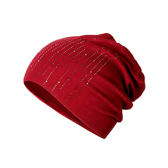 ZXGJMZ Elegantes Sombreros de Las Mujeres Rhinestone Mezclas de Lana Bonete  Invierno Sombrero de Punto Femenino Gorros Sólidos para Damas 9225c578263
