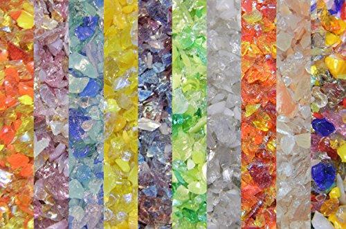 Devardi Glass Lampwork, COE 104 Glass Frit - Mixed Frit Sampler- Powder - 10 one ounce samples