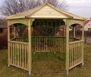 10x 10abierta de madera octogonal cenador de jardín–Madera Tratada A Presión, listones de techo