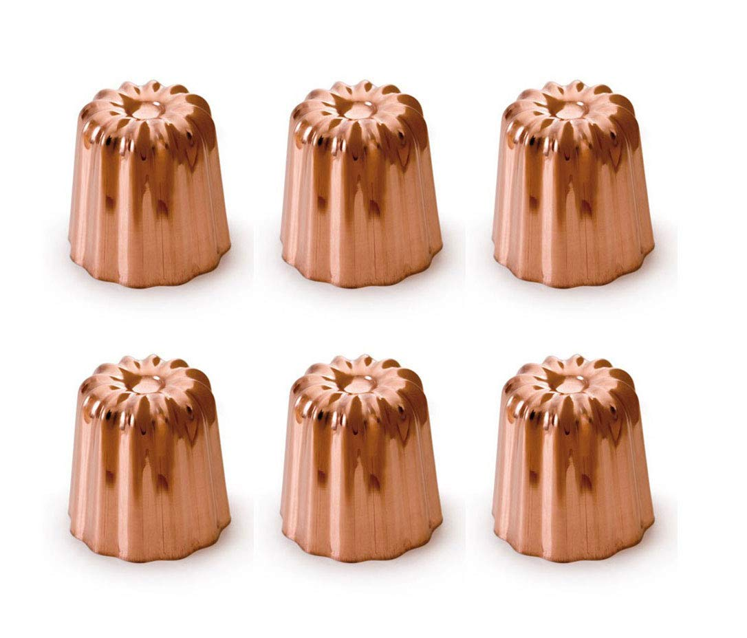 Mauviel Made In France M'Passion 4180.55 Copper Canele 2-Inch Mold, Tinned Interior, Set of 6