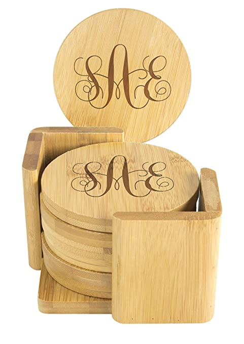 Drink Coasters Round Bamboo Coaster Set of 7 Personalized Coasters With Holder