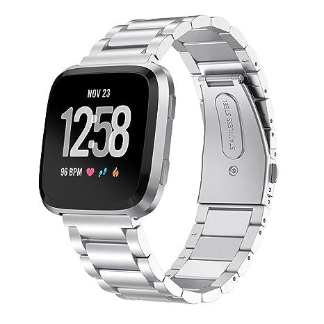 XIHAMA Correa para Fitbit Versa2/versa/versa Lite, Pulsera de Metal Acero Inoxidable Tamaño Ajustable Compatible con Smartwatch Fitbit Versa/Versa ...