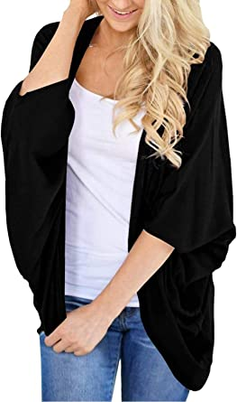 BB/&KK Womens Lightweight Summer Cardigans Solid Color Cotton Kimono Cover Ups Tops 3//4 Sleeve