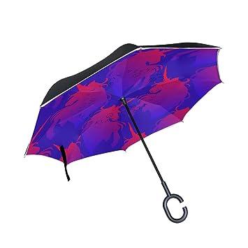 Mnsruu - Paraguas invertido de Doble Capa, diseño de Unicornio con Forma de C,
