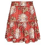 LoXTong Women Floral Print Skater A-Line Elastic High Waist File Ruffle Short Mini Skirt