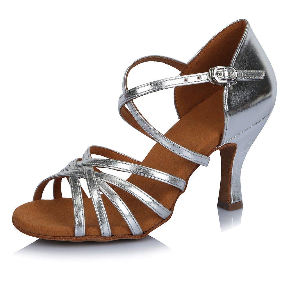 HIPPOSEUS Damen  Mauml;dchen Sandalen Ausgestelltes Tanzschuhe/Ballsaal Standard Latein Dance Schuhe,DEAF404  42 EU|Silber