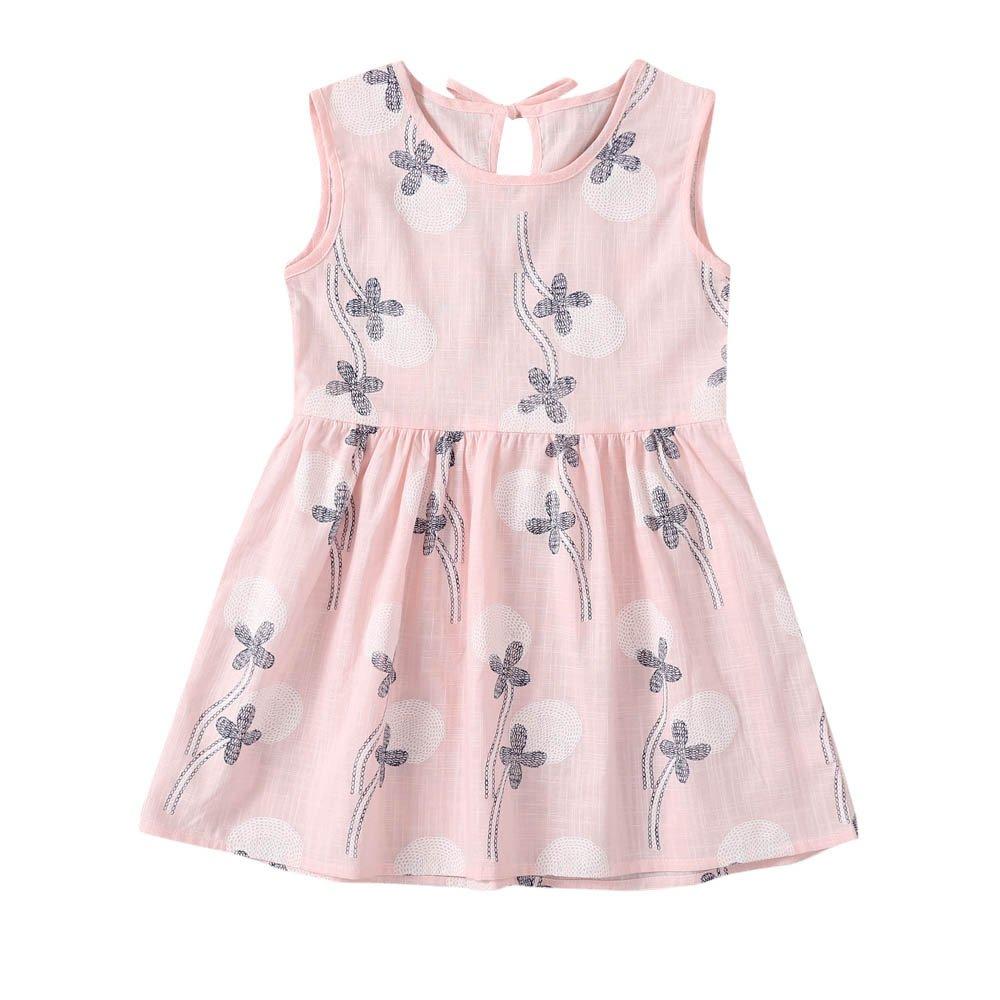 JUTOO Kleinkind Baby M/ädchen Kleid Blumendruck Sleeveless Bowknot Princess Dress Outfits
