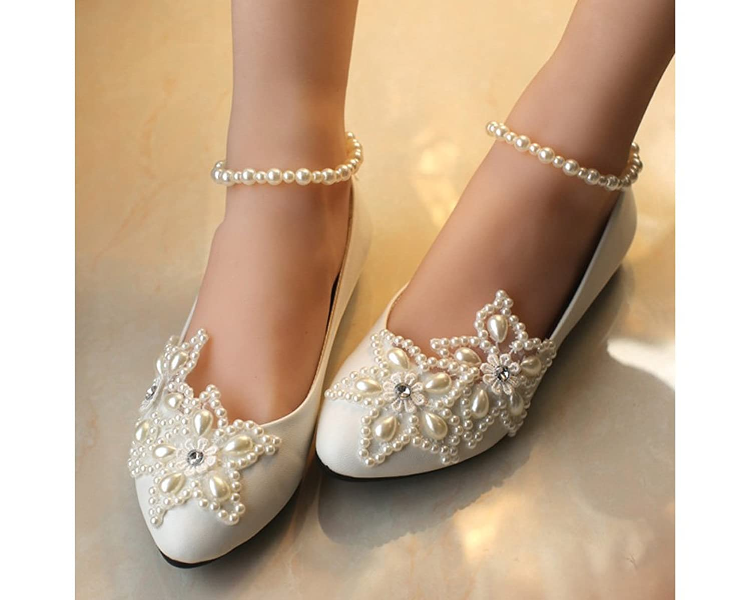 Amazon getmorebeauty womens mary jane flats pearls across the amazon getmorebeauty womens mary jane flats pearls across the top beach wedding shoes flats junglespirit Image collections