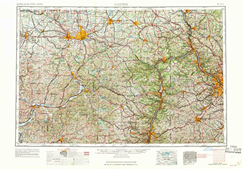 YellowMaps Canton OH topo map, 1:250000 Scale, 1 X 2 Degree, Historical, 1962, 22.1 x 32.1 in - Paper ()