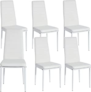 HouseInBox Leather Dining Chairs, Modern PU Side Chair with Metal Feet Back Support, for Dining Room Set of 6 (White)
