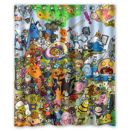 Cartoon Adventure Time Custom Waterproof Shower Curtain 60x72 Inch Bath Curtains Amazoncouk Kitchen Home