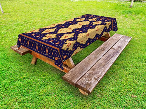 Ambesonne Moroccan Outdoor Tablecloth, Traditional Arabic Border Visual Ottoman Inspired Unusual Repeating Pattern, Decorative Washable Picnic Table Cloth, 58 X 120 Inches, Purple Sand Brown