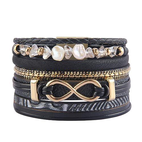 2c1910a4514 Jenia Infinity Leather Bracelet Endless Love Charm Wrap Bracelets Baroque  Pearl Cuff Bracelet Boho Bracelet Jewelry