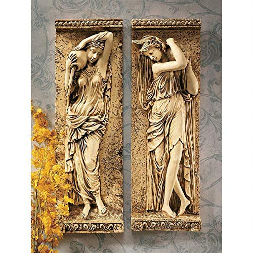 Design Toscano Water Maidens Wall Sculptures, 22 Inch, Dordogne and Seine Set of Two, Polyresin, Cream Stone from Design Toscano