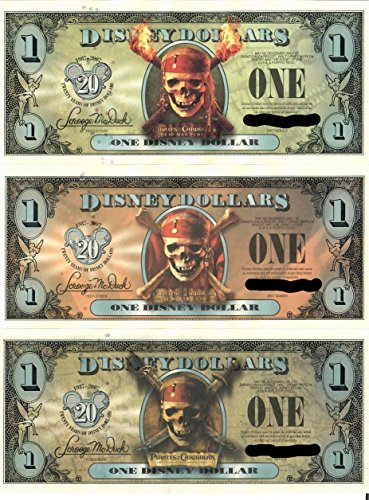Pirates of the Caribbean Disney Dollar Set of 3 single bills (20th Anniversary) The Curse of the Black Pearl - Dead Mans Chest - At World's End (Individual Serial Number/s) Uncirculated 2007