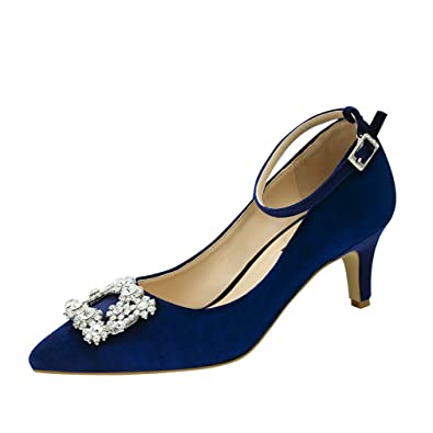 deda50da5e5a ERIJUNOR E2359 Low Heel Pumps for Women Comfort Kitten Heels Rhinestone  Brooch Evening Dress Shoes Navy