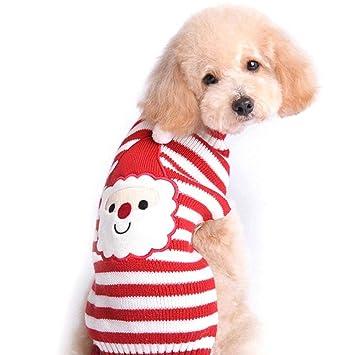 FONLAM Jersey de Navidad para Perro Cachorro Gato Chaleco Disfraz de Fiesta Papá Noel Ropa Traje de Mascota Perro Rayado (L)