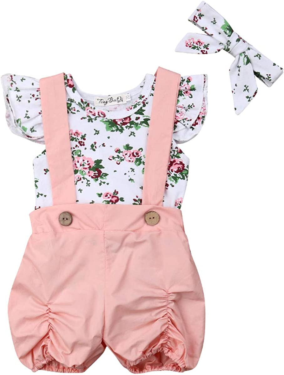 Gonna con Bottoni Rosa Toddler Baby Girl 2pcs Set di Vestiti Pagliaccetto a Campana con Volant Floreale