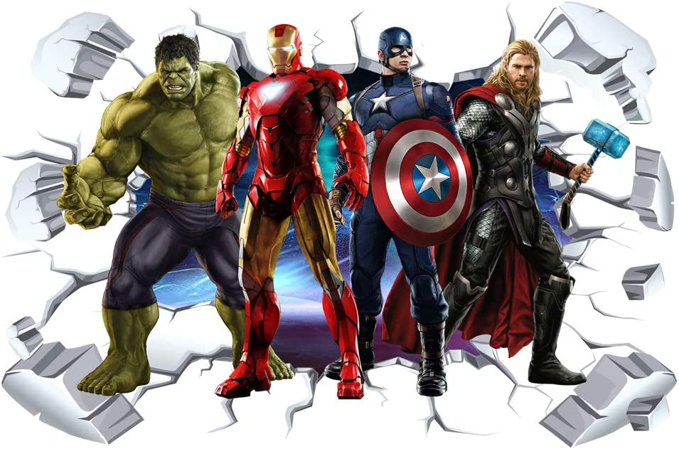 Super Hero Wall Decal 3D Save The World Wall Stickers Removable PVC Cartoon Superhero Wall Sticker for Kids Bedroom Living Room Playroom Wall Décor, 16 inches x 24 inches