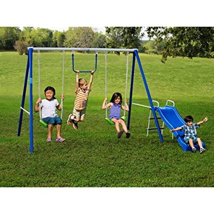 Metal Swing Sets With Slide For Kids 2 12 Y.o. Outdoor Fun Play, Backyard