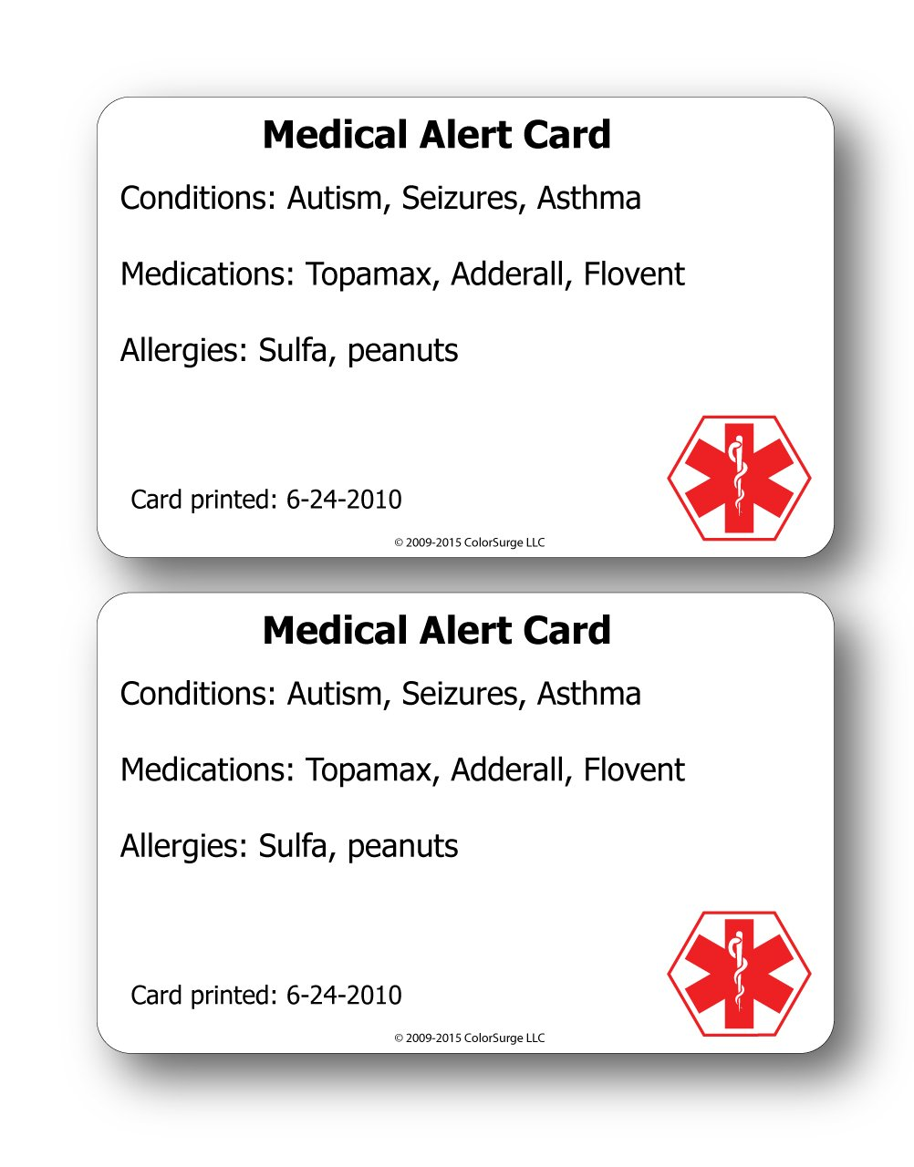 Amazon Com Medical Alert Id Cards You Get Two Health Personal