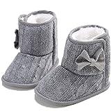 Gupgi: Botas de Nieve de Punto de Piel para bebé, Cálidas para Invierno de 0 a 18 Meses, Gris, 12-18 Meses