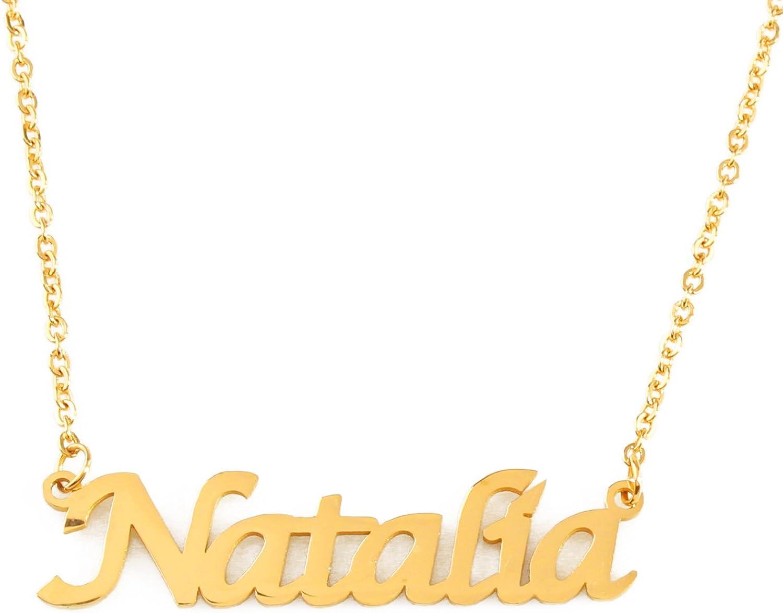 Kigu Natalia Collar con Nombre - Chapado en Oro Personalizado de 18 Quilates - Cadena Ajustable