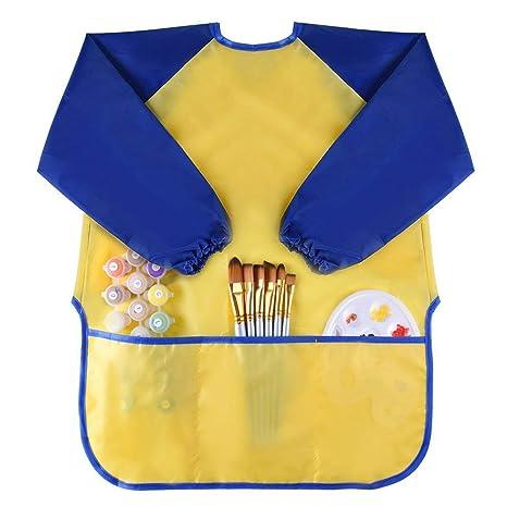 wawhy Blusón Babero Impermeable Infantil para Pintar con Mangas largas para Niño niños niñas Delantal Infantil