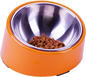 Super Design Mess Free 15 Degree Slanted Bowl for Dogs and Cats 3 Cup Orange