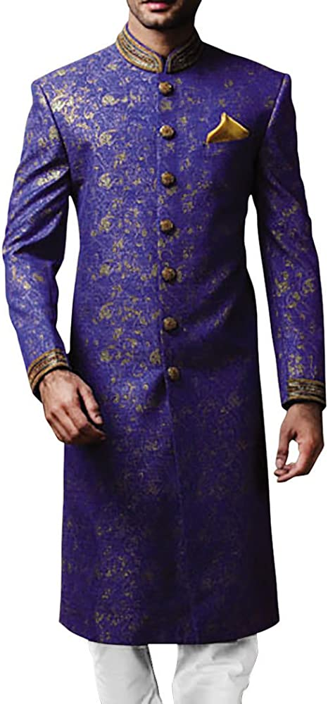 Inmonarch Mens Indian Suit Royal Blue Sherwani For Men Embroidered Sh531s34 34 Short Royal Blue At Amazon Men S Clothing Store