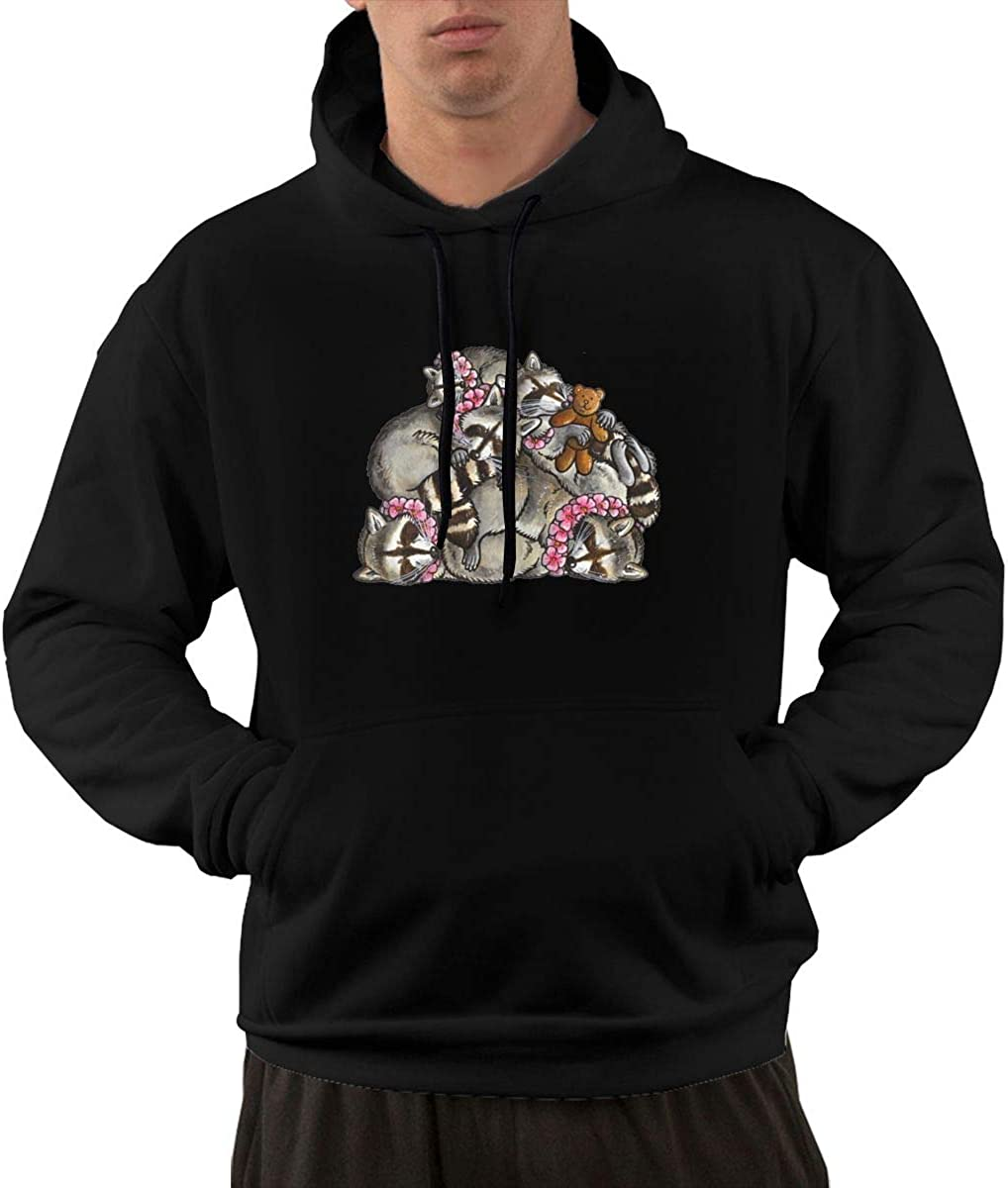 Baby Ying Sleeping Pile of Raccoons Casual Fashion Mens Pocket Hoodie 1
