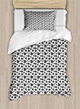Lunarable Poker Twin Size Duvet Cover Set, Symbols of Playing Card Types Abstract Monochrome Pattern with Hearts Dots Spirals, Decorative 2 Piece Bedding Set with 1 Pillow Sham, Black White